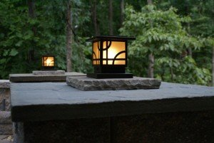 landscape lighting in a backyard