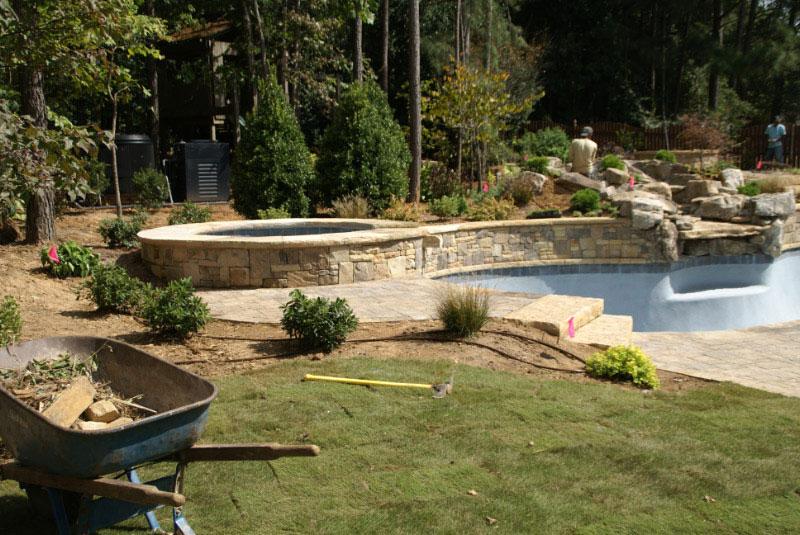 Pool landscaping in dacula hamilton mill poolside for Pool design hamilton